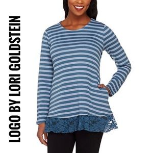 LOGO by Lori Goldstein Striped Lace Hem Pullover L